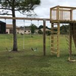 Play gym for kids with Rock Climber side view