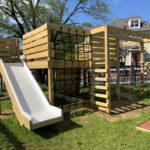 Jungle Gym for kids with slide, climbing net, basketball hoop, monkey bars
