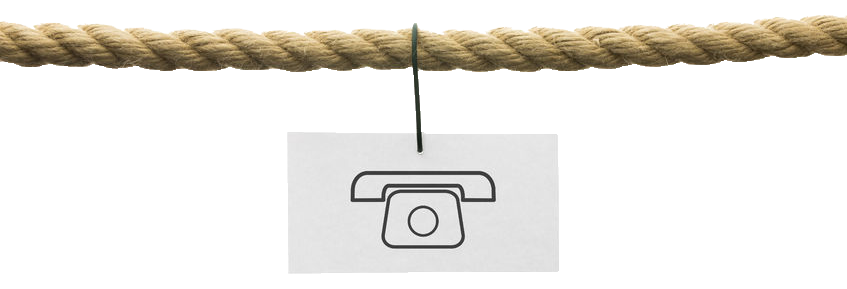 Pictured a drawing of a phone hanging on a rope